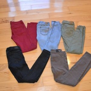 American eagle super stretch jeggings sz 0 5pr